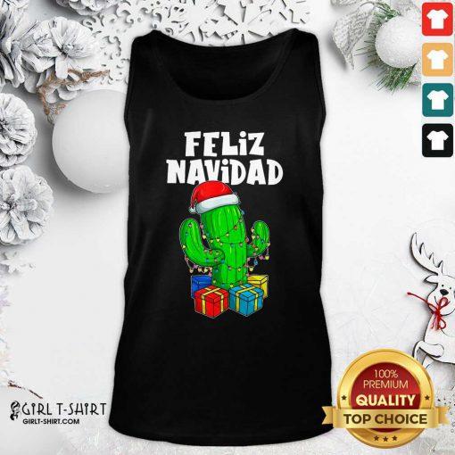 Funny Feliz Navidad Cactus Tree & Lights Spanish Pajama Christmas Tank Top - Design By Girltshirt.com