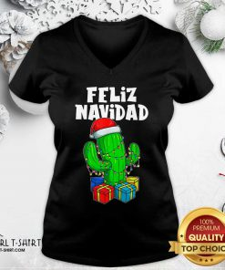 Funny Feliz Navidad Cactus Tree & Lights Spanish Pajama Christmas V-neck - Design By Girltshirt.com