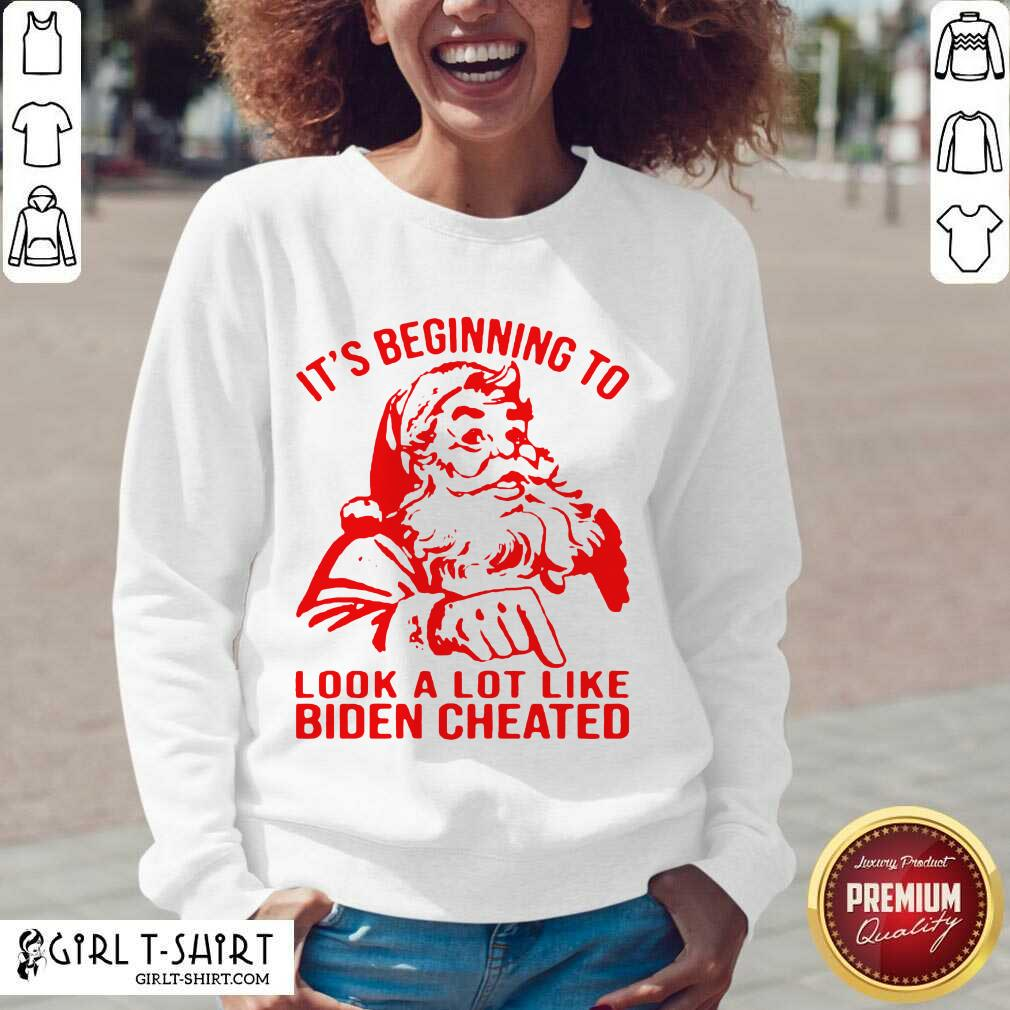 Santa Claus It's Beginning To Look A Lot Like Biden Cheated V-neck - Design By Girltshirt.com