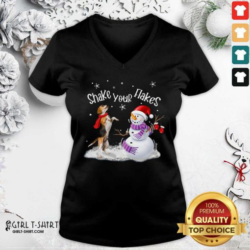 Beagle And Snowman Shake Your Flakes Merry Christmas V-neck - Design By Girltshirt.com