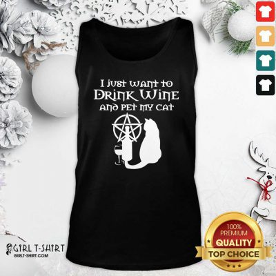 I Just Want To Drink Wine And Pet My Cat Tank Top - Design By Girltshirt.com