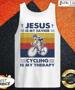 Jesus Is My Savior Cycling Is My Therapy Vintage Tank Top- Design By Girltshirt.com