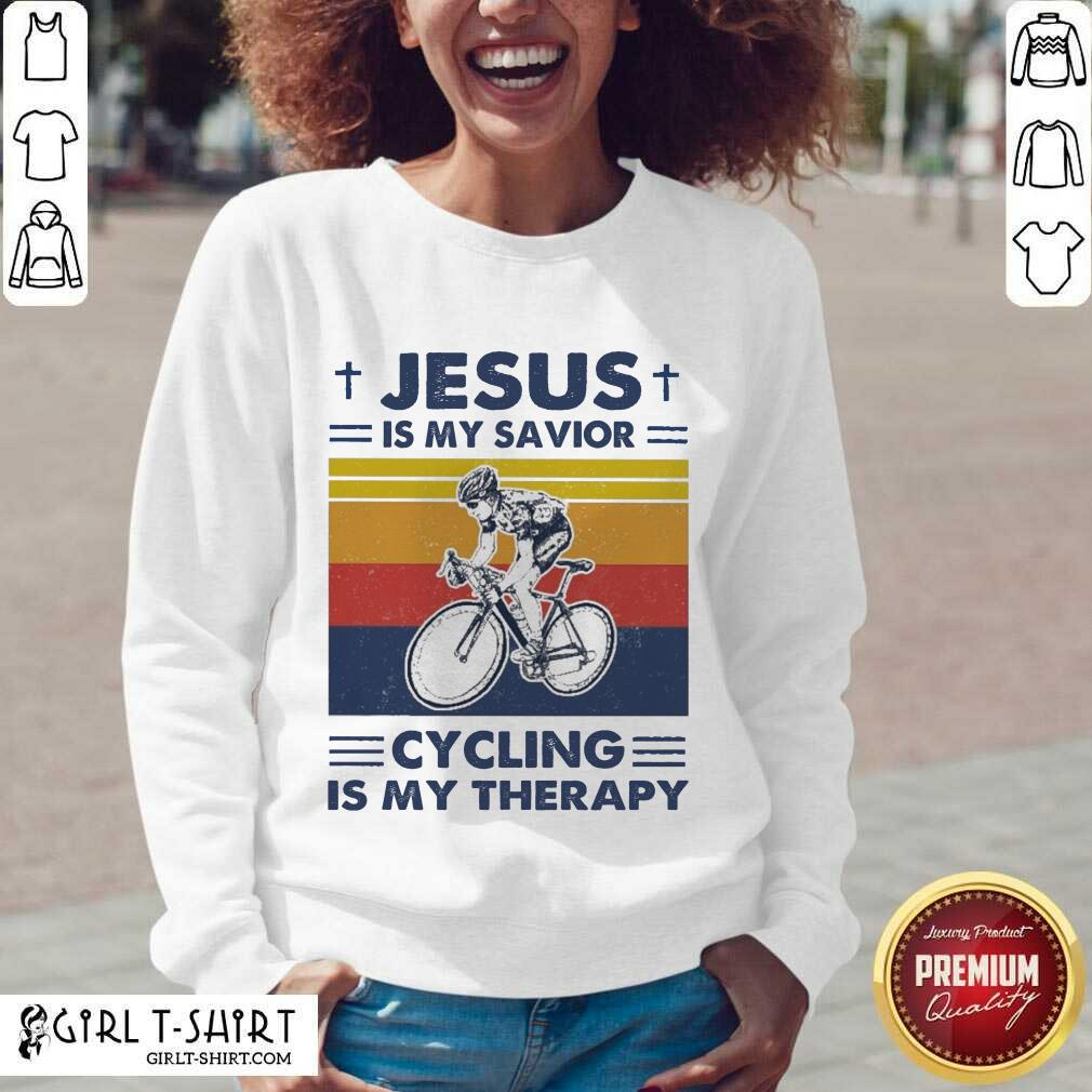 Jesus Is My Savior Cycling Is My Therapy Vintage V-neck- Design By Girltshirt.com