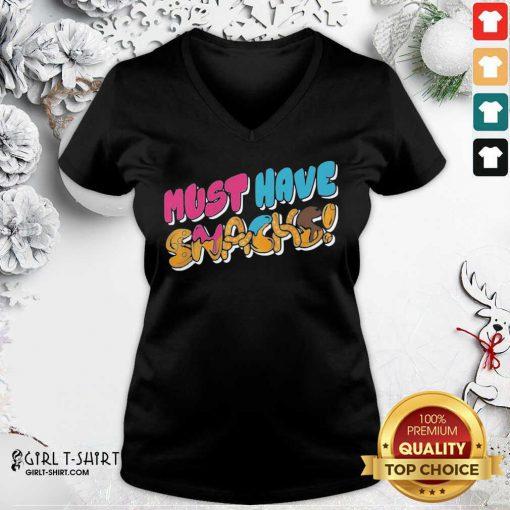 Morejstu Merch Jstu Must Have Snacks V-neck - Design By Girltshirt.com