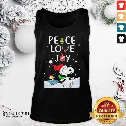 Snoopy Peace Love Joy Christmas Tank Top - Design By Girltshirt.com