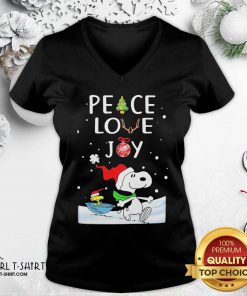 Snoopy Peace Love Joy Christmas V-neck - Design By Girltshirt.com