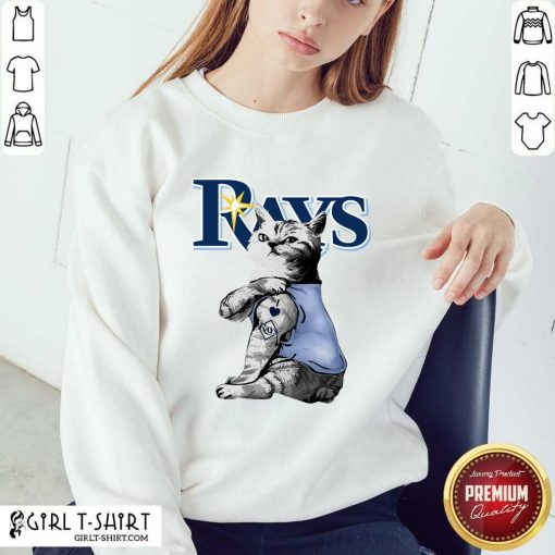 Tattoo Cat I Love Tampa Bay Rays Sweatshirt - Design By Girltshirt.com