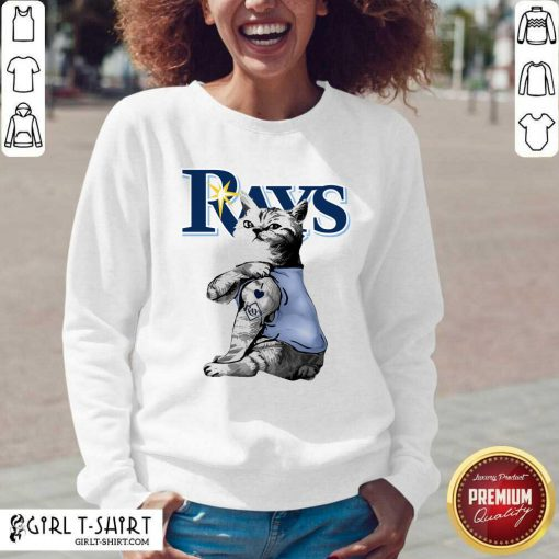 Tattoo Cat I Love Tampa Bay Rays V-neck - Design By Girltshirt.com