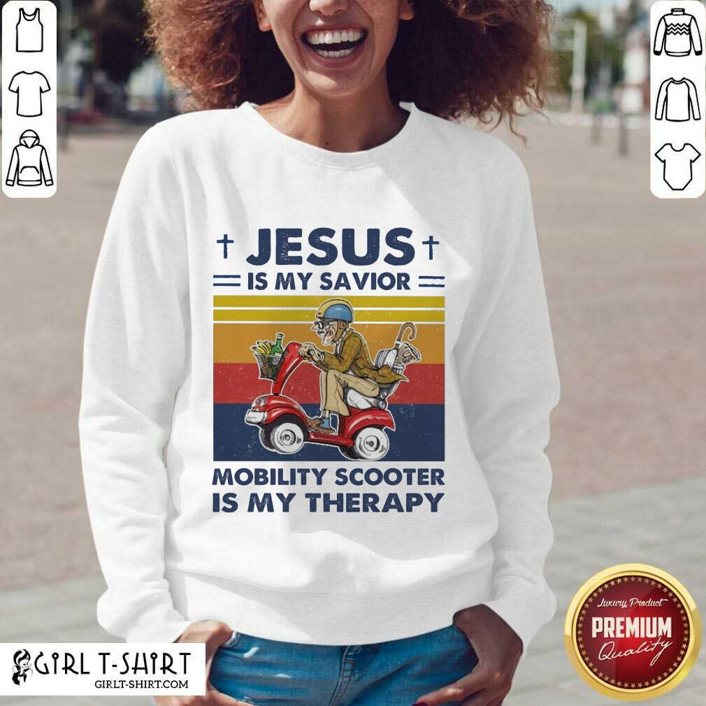 Jesus Is My Savior Mobility Scooter Is My Therapy Vintage V-neck- Design By Girltshirt.com