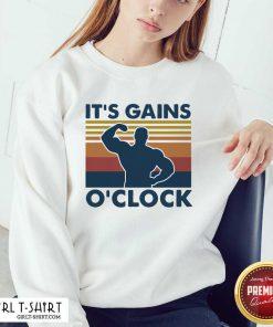 Weight Lifting Its Gains O'clock Vintage Sweatshirt - Design By Girltshirt.com