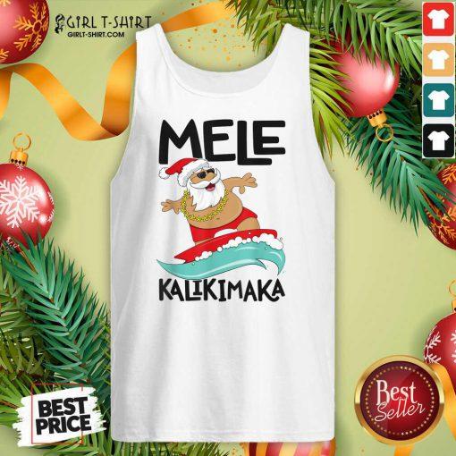 Mele Kalikimaka Hawaiian Christmas Hawaii Surfing Santa Tank Top- Design By Girltshirt.com