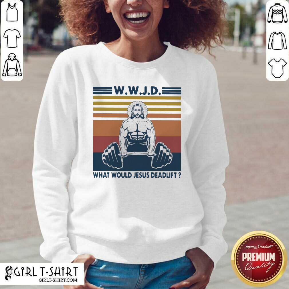 Wwjd What Would Jesus Deadlift Vintage V-neck- Design By Girltshirt.com