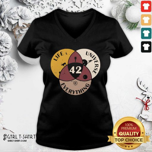 42 The Answer To Life Universe And Everything V-neck - Design By Girltshirt.com