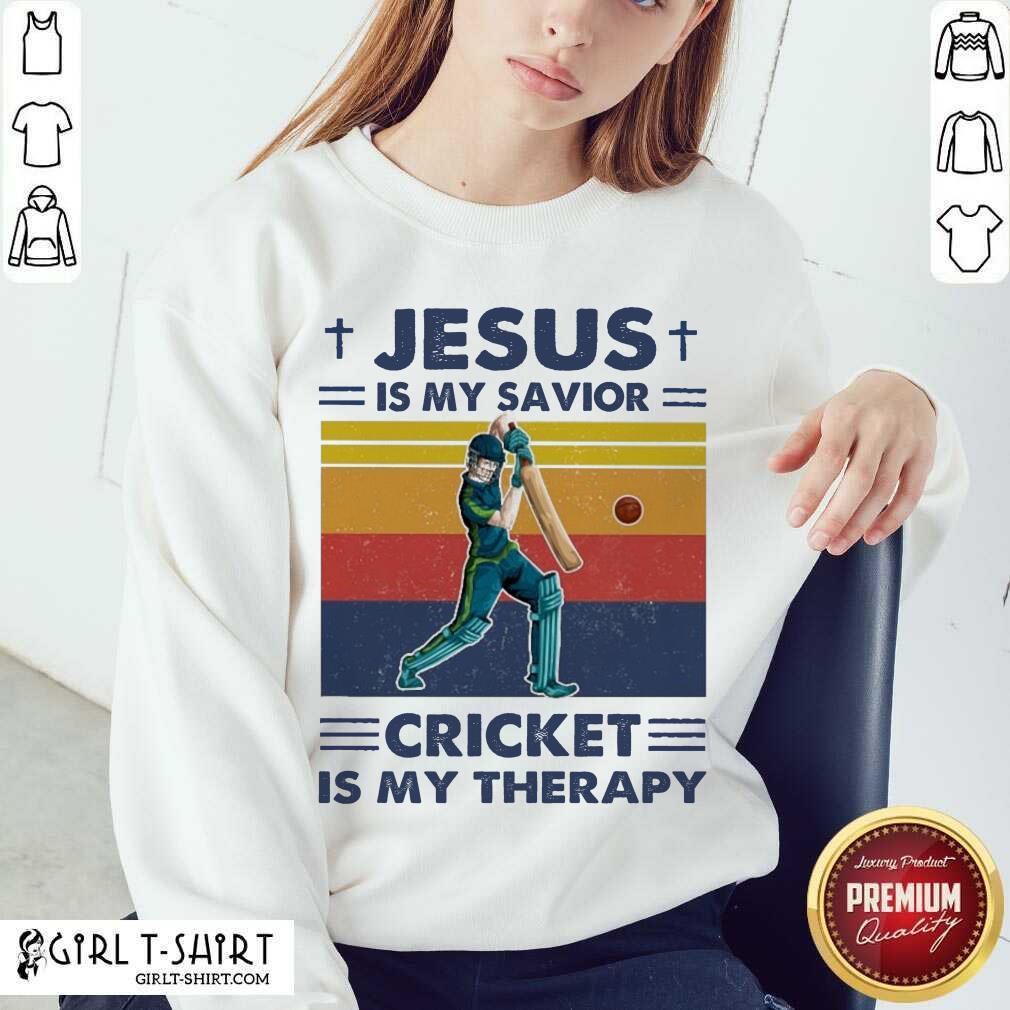 Jesus Is My Savior Cricket Is My Therapy Vintage Sweatshirt- Design By Girltshirt.com