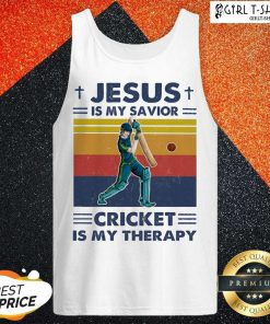 Jesus Is My Savior Cricket Is My Therapy Vintage Tank Top - Design By Girltshirt.com