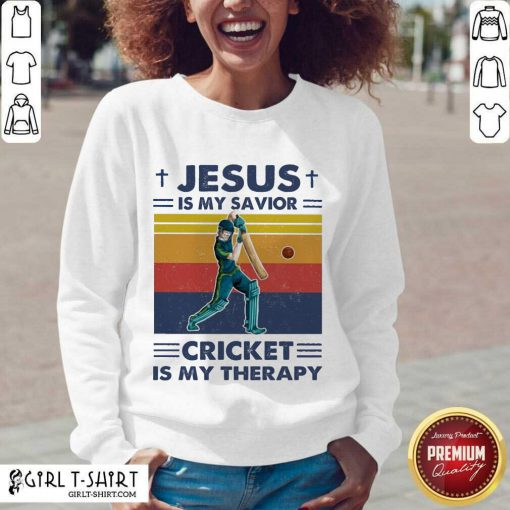 Jesus Is My Savior Cricket Is My Therapy Vintage V-neck - Design By Girltshirt.com