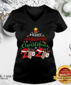 Merry Quarantine Christmas 2020 Pajamas Matching Family Gift V-neck - Design By Girltshirt.com