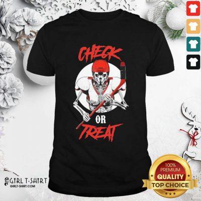 Skeleton Hockey Check Or Treat Shirt - Design By Girltshirt.com