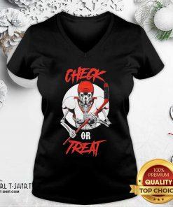 Skeleton Hockey Check Or Treat V-neck - Design By Girltshirt.com