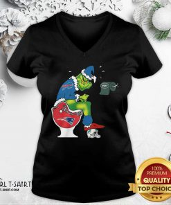 The Grinch New York Jets Shit On Toilet New England Patriots And Other Teams Christmas V-neck - Design By Girltshirt.com