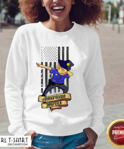Dabbing Police Man Ameican Heroes Us Flag V-neck- Design By Girltshirt.com