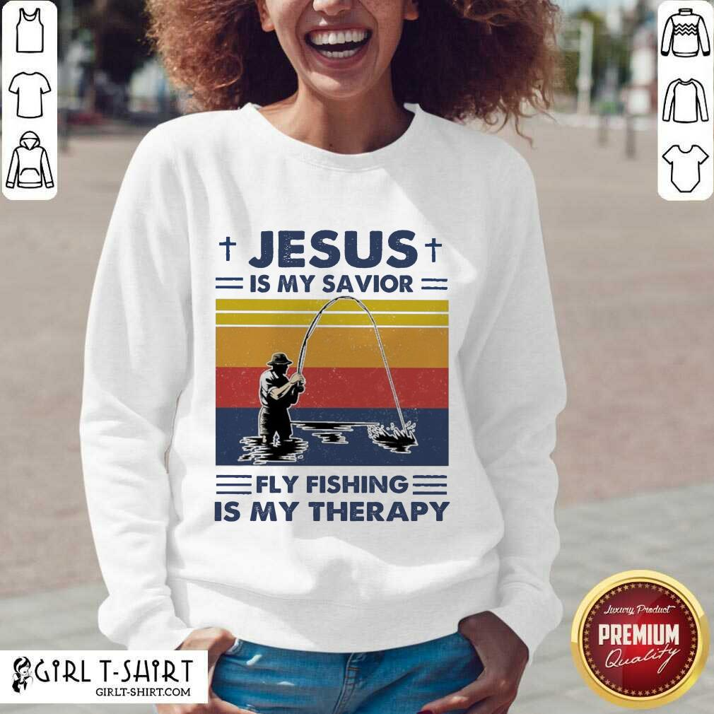 Jesus Is My Savior Fly Fishing Is My Therapy Vintage V-neck - Design By Girltshirt.com