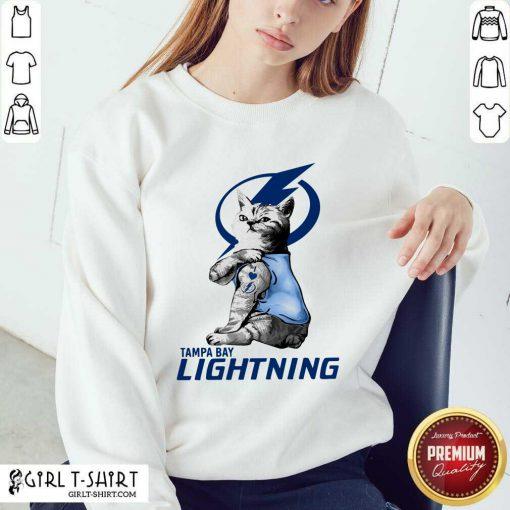 Tattoo Cat I love Tam Bay Lightning Sweatshirt- Design By Girltshirt.com