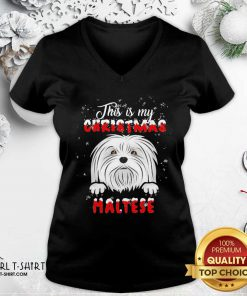 This Is My Christmas Maltese Merry Christmas V-neck - Design By Girltshirt.com