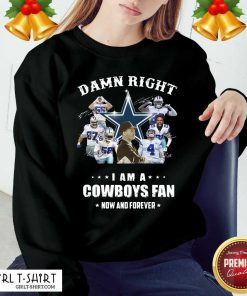 Damn Right I Am A Dallas Cowboy Fan Now And Forever Signatures Sweatshirt - Design By Girltshirt.com