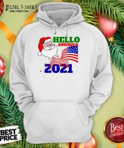 Hello America 2021 Santa Claus Merry Christmas Usa Flag Hoodie- Design By Girltshirt.com