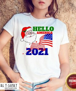 Hello America 2021 Santa Claus Merry Christmas Usa Flag Shirt - Design By Girltshirt.com