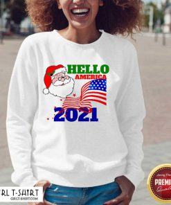Hello America 2021 Santa Claus Merry Christmas Usa Flag V-neck- Design By Girltshirt.com