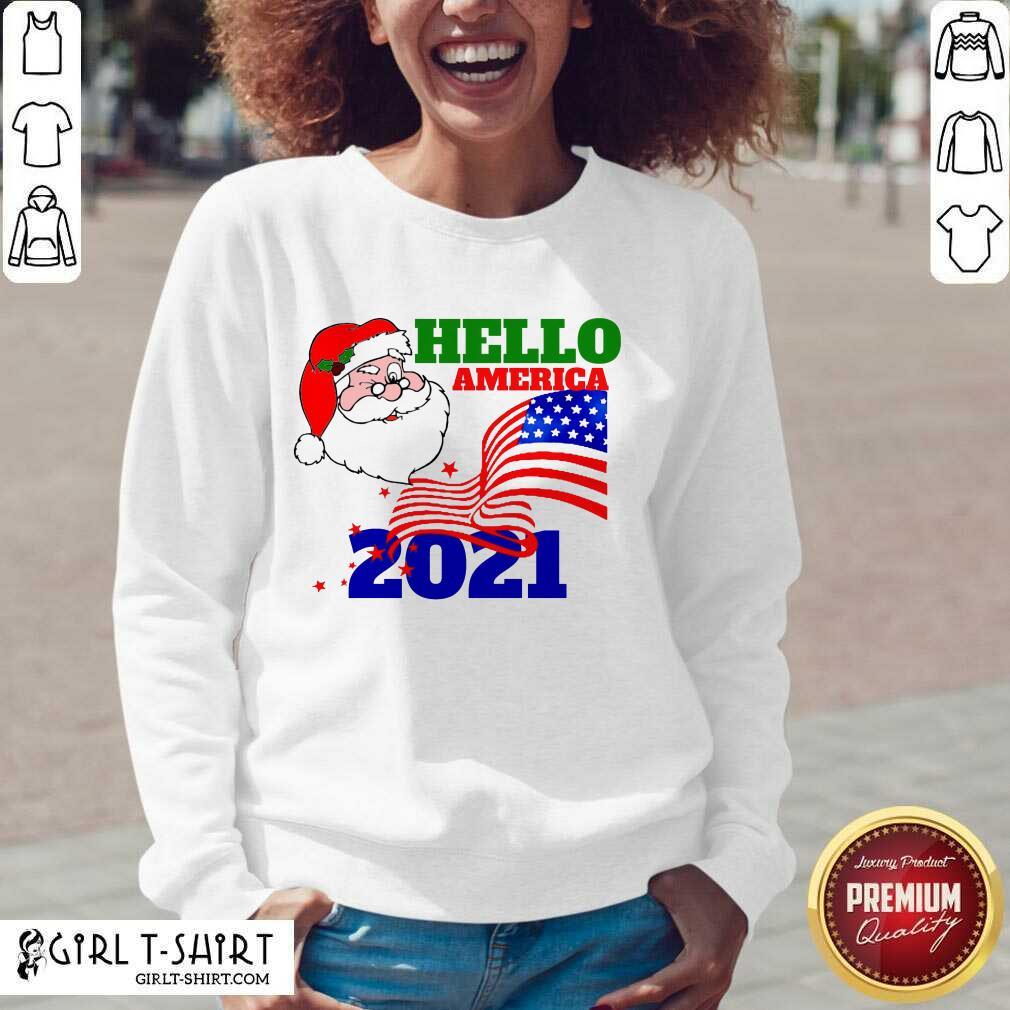 Hello America 2021 Santa Claus Merry Christmas Usa Flag V-neck- Design By Girltshirt.com
