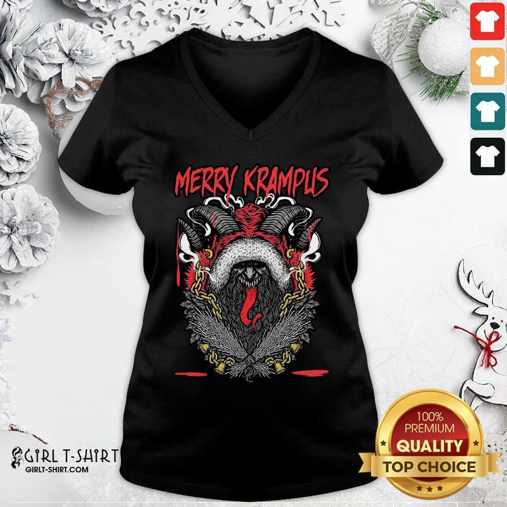Merry Krampus Christmas Psychobilly V-neck - Design By Girltshirt.com