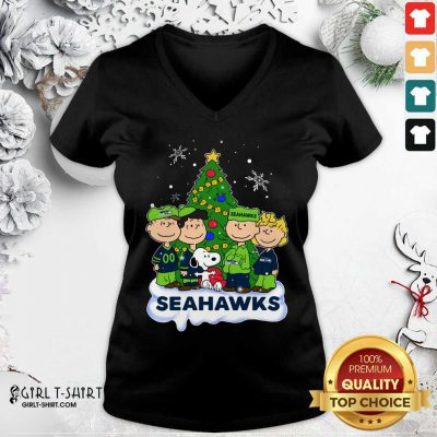 Snoopy The Peanuts Seattle Seahawks Christmas V-neck - Design By Girltshirt.com