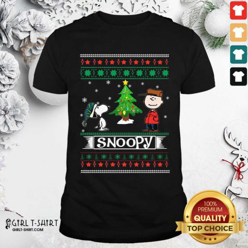 The Peanuts Charlie Brown And Snoopy Ugly Merry Christmas Tree Shirt- Design By Girltshirt.com