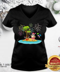 Premium Christmas Palm Tree Xmas Coconut Lights V-neck - Design By Girltshirt.com