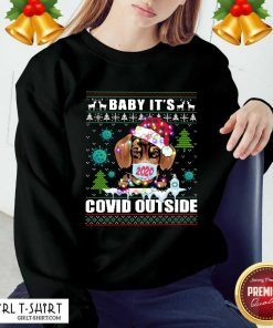 Dog Face Mask 2020 Baby It'S Covid Outside Ugly Christmas Sweatshirt - Design By Girltshirt.com