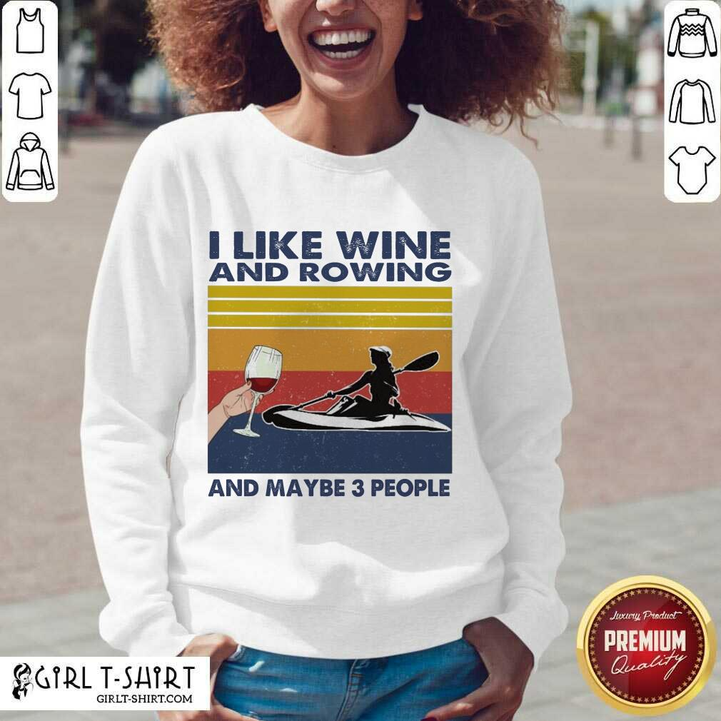 I Like Wine And Rowing And Maybe People Vintage V-neck - Design By Girltshirt.com