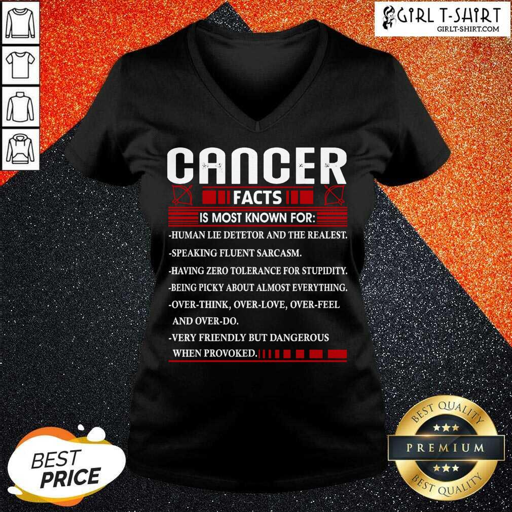 List Cancer Facts Is Most Know For Zodiac Birthday Cancer V-neck- Design By Girltshirt.com
