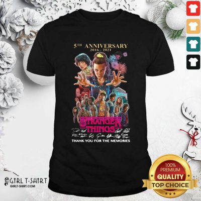 Stranger Things 5th Anniversary Signatures Thank You For The Memories Shirt - Design By Girltshirt.com