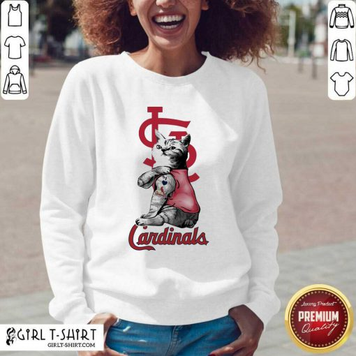 Tattoo Cat I love St Louis Cardinals V-neck - Design By Girltshirt.com
