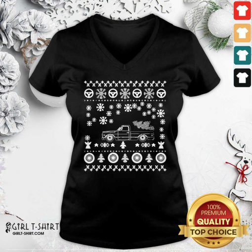 Tow Truck Ugly Merry Christmas V-neck - Design By Girltshirt.com