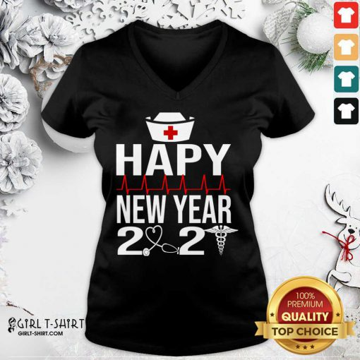 Happy New Year 2021 Nurse Crew Santa's Favorite Nurse V-neck- Design By Girltshirt.com