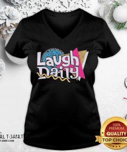 Morejstu Merch Jstu Retro Laugh Daily V-neck - Design By Girltshirt.com