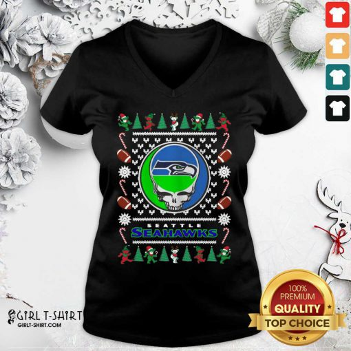 Seattle Seahawks Grateful Dead Ugly Christmas V-neck - Design By Girltshirt.com
