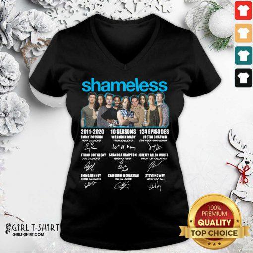 Shameless All Cast Signed 2011 2020 10 Seasons 124 Episodes Signatures V-neck - Design By Girltshirt.com