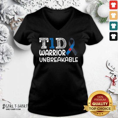 Diabetes T1D Warrior Unbreakable V-neck - Design By Girltshirt.com