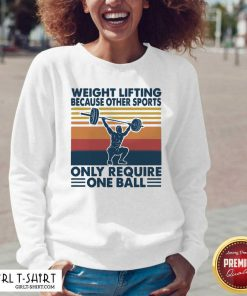 Weight Lifting Because Other Sports Only Require One Ball Vintage V-neck- Design By Girltshirt.com