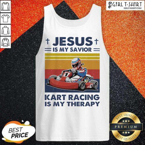 Jesus Is My Savior Kart Racing Is My Therapy Vintage Tank Top - Design By Girltshirt.com